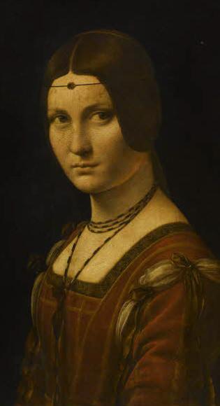 Léonard de Vinci,  Portrait de femme, dit La Belle Ferronnière